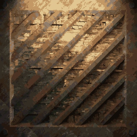 rusty metal and wood plate made in Vector Stock Vector - 8591564