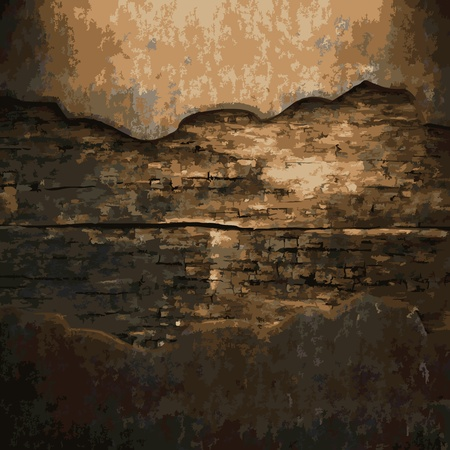 antique background: rusty metal and wood plate made in Vector