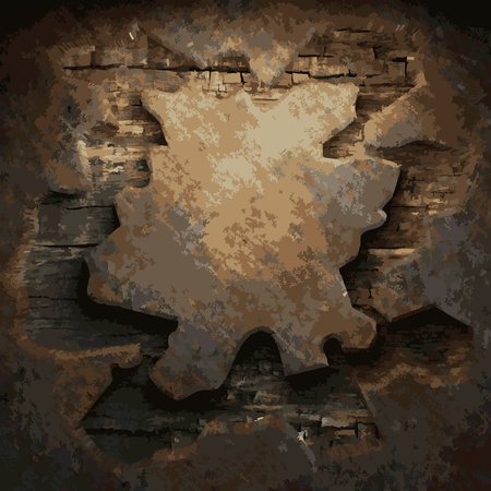 rusty metal and wood plate made in Vector Stock Vector - 8591563
