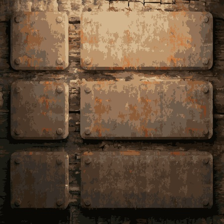 rusty metal and wood plate made in Vector Stock Vector - 8591523