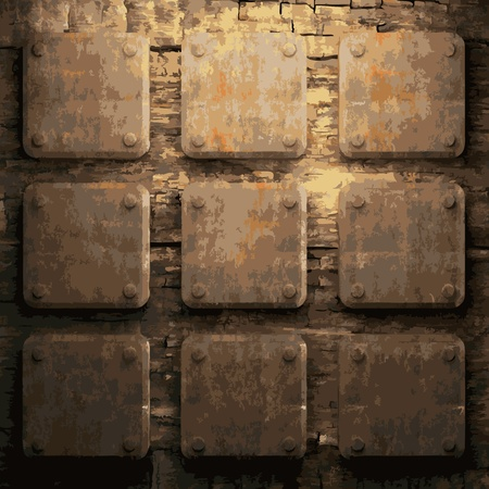surface covering: rusty metal and wood plate made in vector Illustration