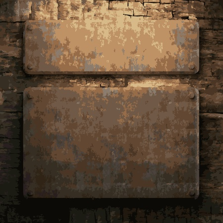 rusty metal and wood plate made in Vector Stock Vector - 8591524