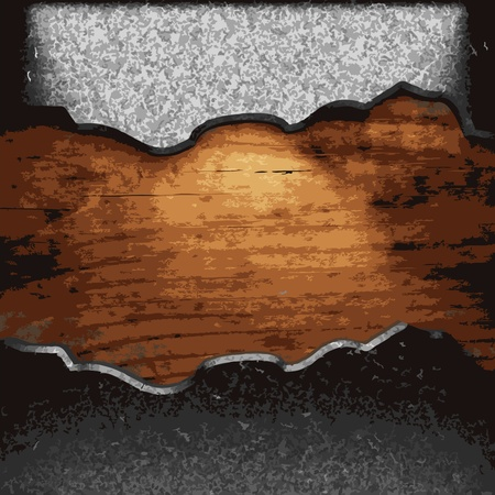 structure metal: iron plate on wood made in Vector