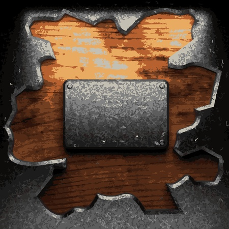 iron plate on wood made in Vector Stock Vector - 8597331
