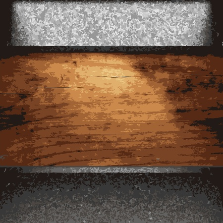 iron plate on wood made in Vector Vector