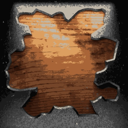 iron plate on wood made in Vector Stock Vector - 8591416