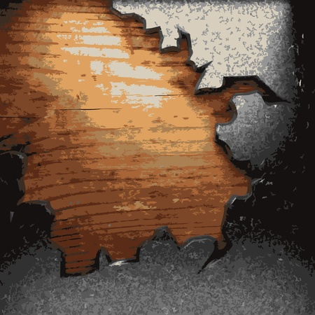 iron plate on wood made in Vector Stock Vector - 8591419