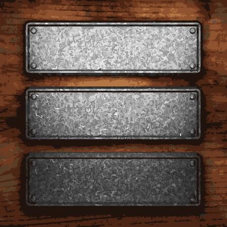 placa bacteriana: chapa de hierro en madera realizado en Vector