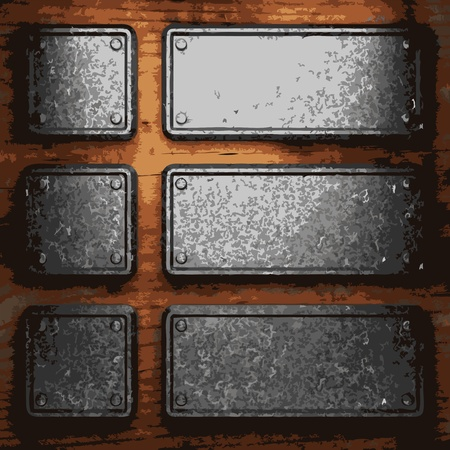iron plate on wood made in Vector Stock Vector - 8591439
