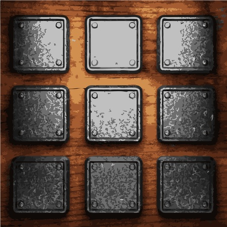 iron plate on wood made in Vector Stock Vector - 8591467