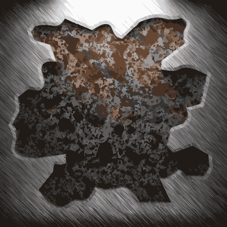 rusty metal texture: aluminum and rusty metal plate made in Vector