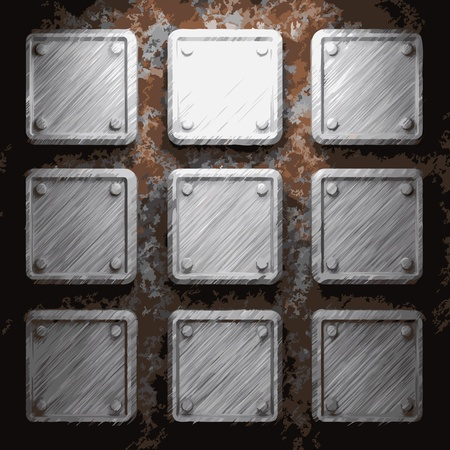 aluminum and rusty metal plate made in vector Vector