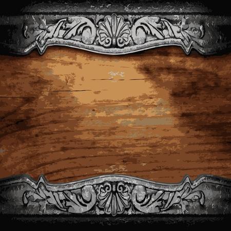 ijzer ornament op hout gemaakt in Vector Vector Illustratie