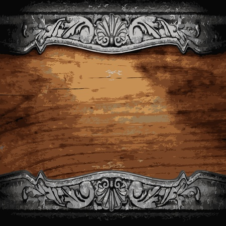 iron ornament on wood made in Vector Vector