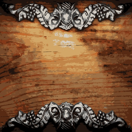 iron ornament on wood made in Vector Stock Vector - 8591502