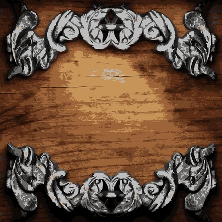 wooden plaque: iron ornament on wood made in Vector