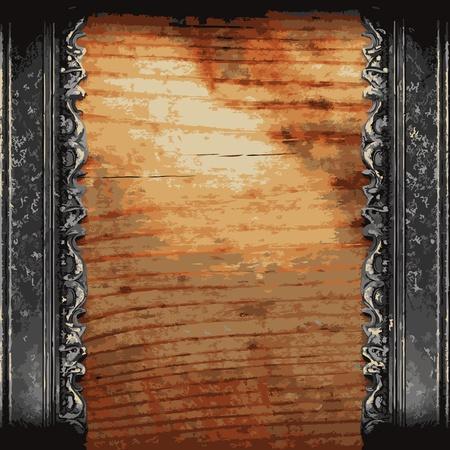 placa bacteriana: ornamento de hierro en madera realizado en Vector Vectores