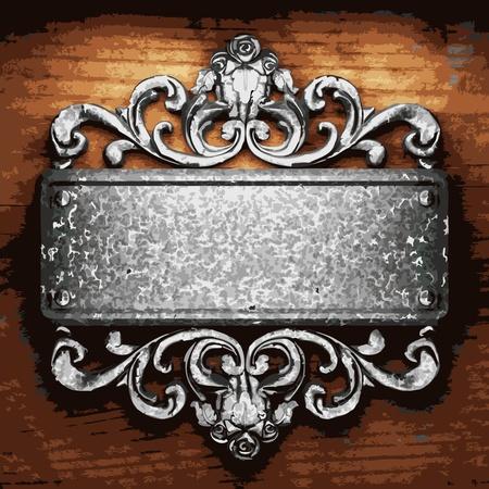 ijzer ornament op hout gemaakt in Vector