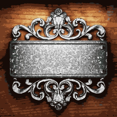 iron ornament on wood made in Vector Stock Vector - 8597329