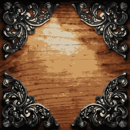 iron ornament on wood made in Vector Stock Vector - 8597379