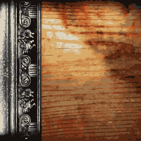 silver texture: iron ornament on wood made in Vector