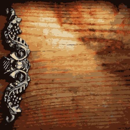 tack board: ornamento de hierro en madera realizado en Vector Vectores