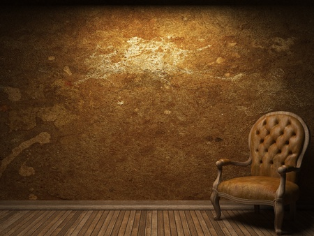 old concrete wall and chair made in 3D graphics Stock Photo