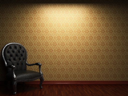 illuminated fabric wallpaper and chair made in 3D photo
