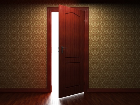door open: illuminated fabric wallpaper and door made in 3D