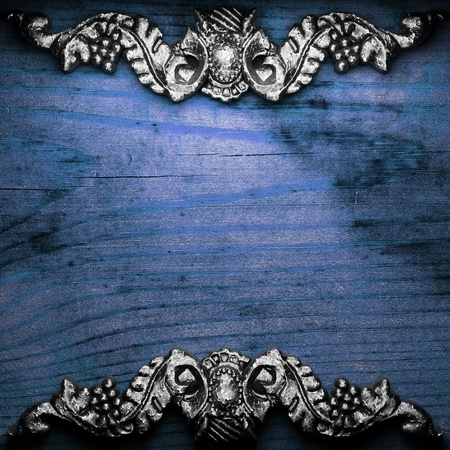 iron ornament on wood made in 3D Stock Photo - 9248227