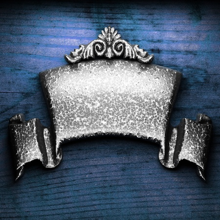 iron nail: iron ornament on wood made in 3D Stock Photo