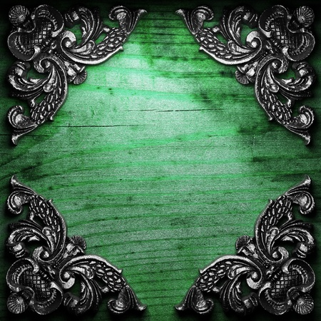 iron ornament on wood made in 3D Stock Photo - 9248221