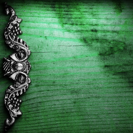 iron ornament on wood made in 3D Stock Photo - 9248239