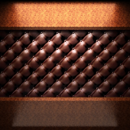 red wood plate on leather made in 3D photo