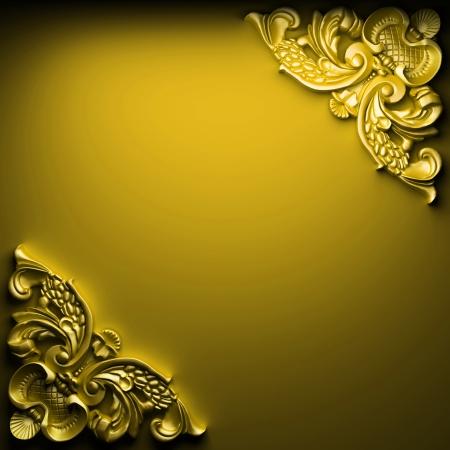 baroque border: color ornament made in 3D graphics Stock Photo