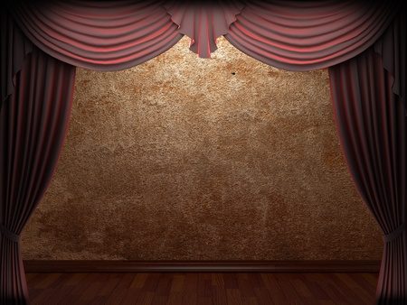 velvet curtain and stone wall made in 3d Stock Photo - 9367046