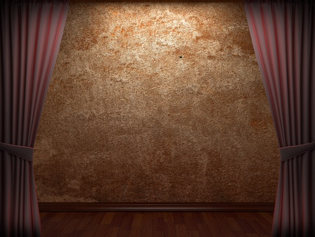 theater background: velvet curtain and stone wall made in 3d