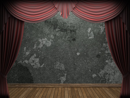 velvet curtain and stone wall made in 3d Stock Photo - 9367053