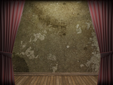 fabric textures: velvet curtain and stone wall made in 3d