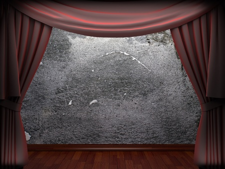 velvet curtain and stone wall made in 3d Stock Photo - 9317742