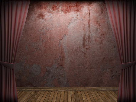 velvet curtain and stone wall made in 3d Stock Photo - 9317754