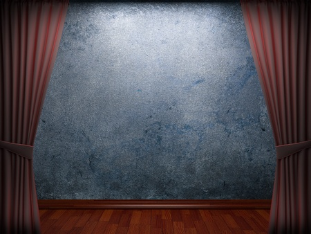 velvet curtain and stone wall made in 3d Stock Photo - 9317789