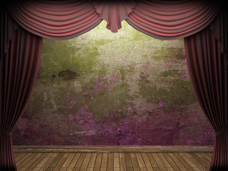 velvet texture: velvet curtain and stone wall made in 3d