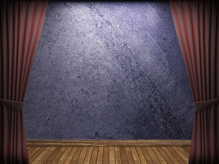 velvet curtain and stone wall made in 3d Stock Photo - 9317454
