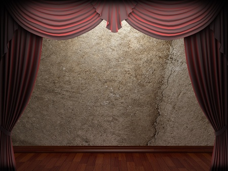 velvet curtain and stone wall made in 3d Stock Photo - 9317439