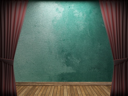 theater audience: velvet curtain and stone wall made in 3d
