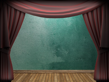 velvet curtain and stone wall made in 3d Stock Photo - 9317430