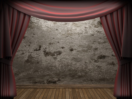 velvet curtain and stone wall made in 3d Stock Photo - 9306649