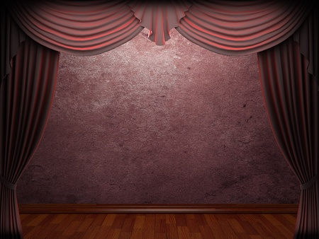 velvet curtain and stone wall made in 3d Stock Photo - 9306667