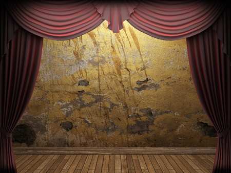 velvet curtain and stone wall made in 3d Stock Photo - 9300695